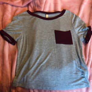 Tillys Maroon and grey t shirt
